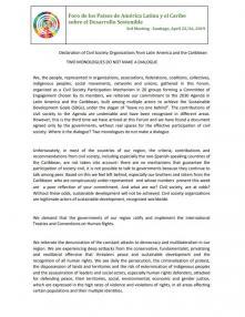 Portada Declaración de Organizaciones de la Sociedad Civil de América Latina y el Caribe