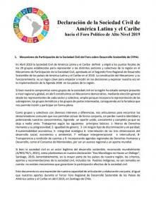 Portada  declaracion Soc Civil Foro de alto nivel 2019